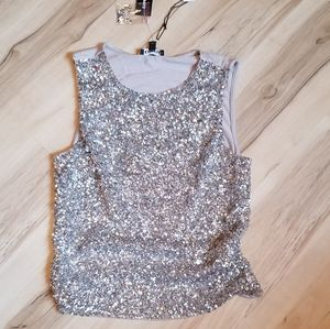 EXPRESS SILVER SEQUIN TANK SMALL SPARKLY GLITTER